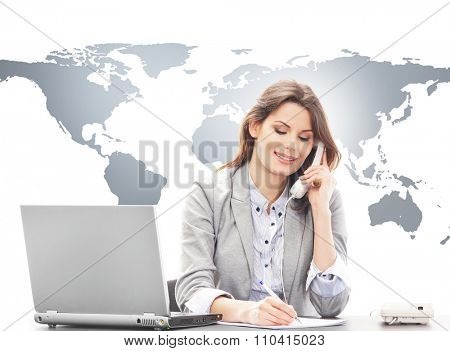 Beautiful business woman answering international calls. Global business concept.