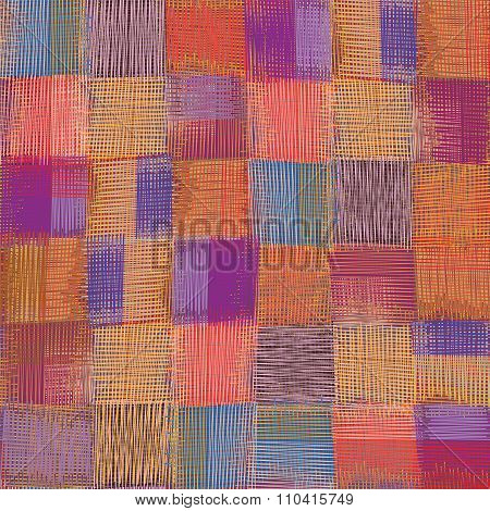 Grunge Striped And Checkered Weave Cloth Colorful Seamless Pattern