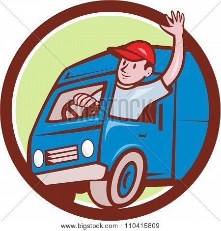 Delivery Man Waving Driving Van Circle Cartoon