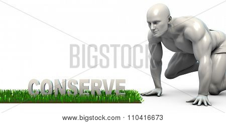 Conserve Concept with Man Looking Closely to Verify