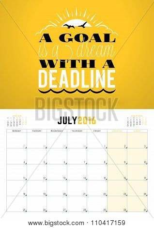 July 2016. Wall Calendar Planner For 2016 Year. Week Starts Monday. Vector Design Print Template Wit