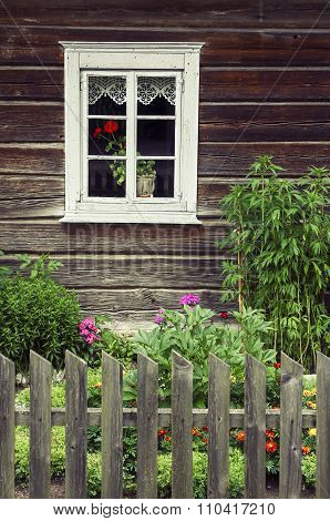 Window Of An Old Traditional Log House