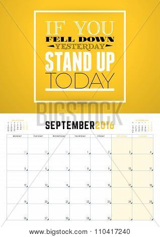 September 2016. Wall Calendar Planner For 2016 Year. Week Starts Monday. Vector Design Print Templat