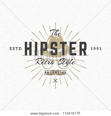 Hipster Hat And Glasses. Vintage Retro Design Elements For Logotype, Insignia, Badge, Label. Busines