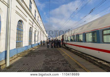 VLADIMIR, RUSSIA -05.11.2015. High-speed train Strizh at  railway station
