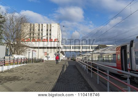 VLADIMIR, RUSSIA -05.11.2015. The building of  railway station and long-distance trains