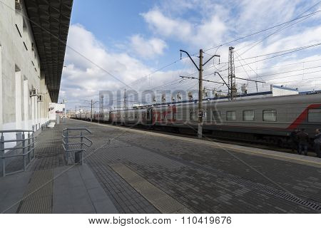 VLADIMIR, RUSSIA -05.11.2015. The  railway station and long-distance trains