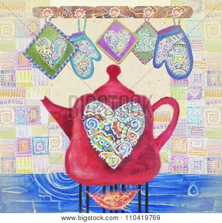 Kitchen Love. Beautiful Card With Red Teapot On The Fire, Hearts And Potholders.