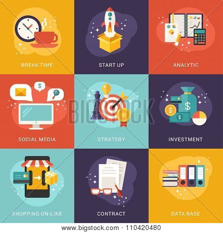 Set Of Concept Flat Style Vector Business And Shopping Illustrations Or Icons. Start Up, Analytic, I