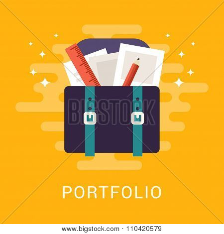 Flat Vector Business Illustration. Portfolio Concept. Suitcase With Papers