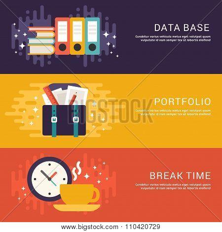 Flat Design Concept. Set Of Vector Illustrations For Web Banners. Data Base, Portfolio, Break Time