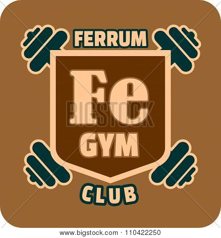 Shield with ferrum gym text and dumbbells. Bodybuilding club emblem