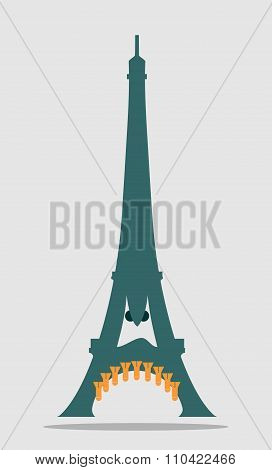 Paris Eiffel tower with cartoon face