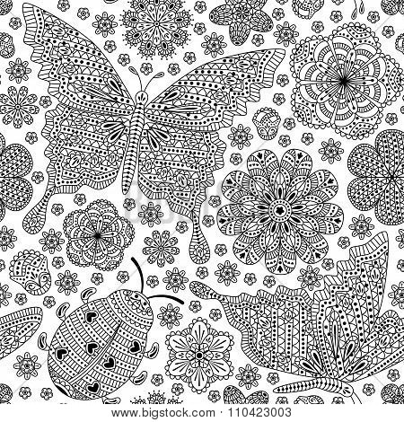 Seamless pattern with flowers and butterflies. Romantic floral background. Black and white colors. D