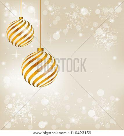 Two Golden spiral christmas balls in snowfall