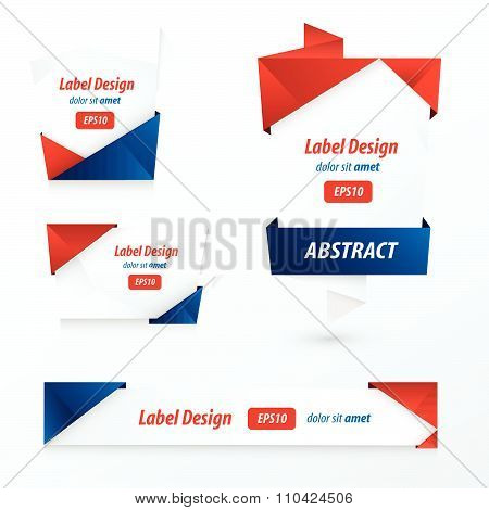 Label, Ribbon Origami Style, Red, Blue Color