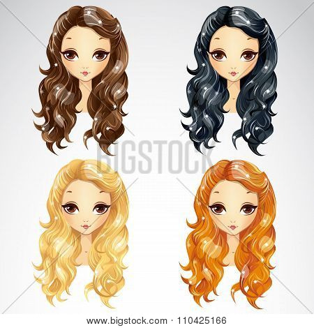 Set Of Wave Long Hair Styling
