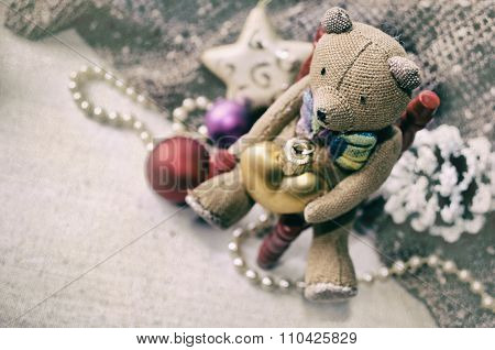 Christmas Card With Teddy Bear, Necklace, Pine Cone, Christmas Tree Toys For Your Design.