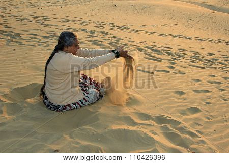 Playful Lady At Sand Dunes