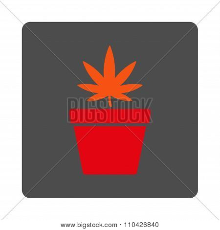 Weed Pot Rounded Square Button