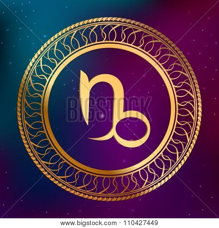 Abstract background astrology concept gold horoscope zodiac sign Capricorn circle frame illustration