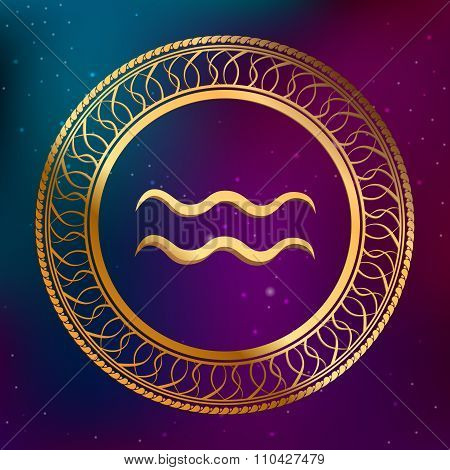 Abstract background astrology concept gold horoscope zodiac sign aquarius circle frame illustration