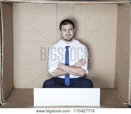 businessman in the box with copy space for AD