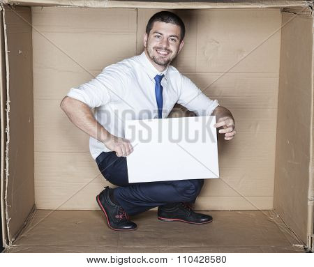 Happy Worker Advertises His Work