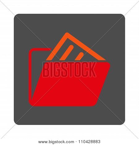 File Folder Rounded Square Button