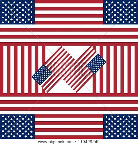 Patriotic Usa Background With American Flags