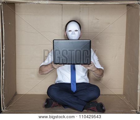 Hacker Holds A Computer