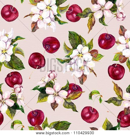 Watercolor floral pattern with cherry berries and cherry flowers.