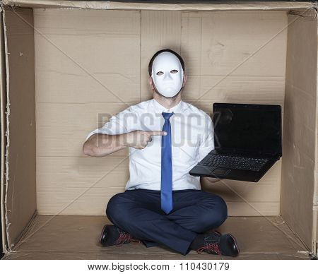 Businessman Pointing On Computer