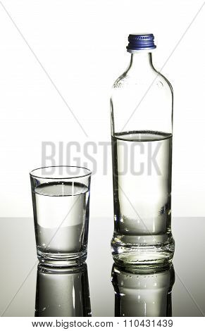 Glass and bottle with water