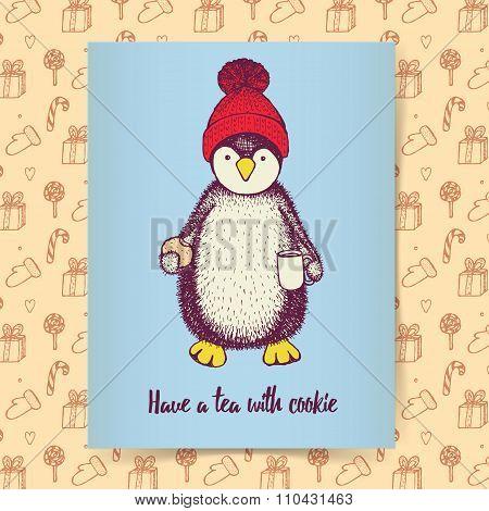 Sketch Pinguin In Hat