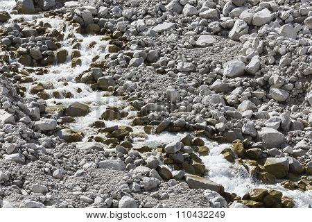 Mountain River Of Ala-archa Gorge In The Summer's Day, Kyrgyzstan.