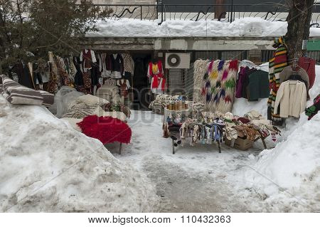 Street sale of traditional gift stock  in ancient Bansko town