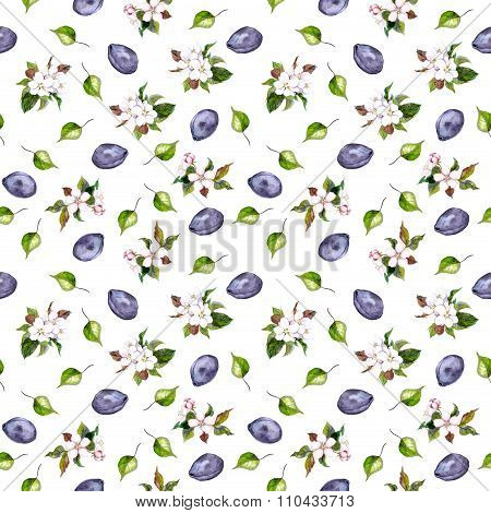 Floral seamless pattern with flowers and plumes fruits
