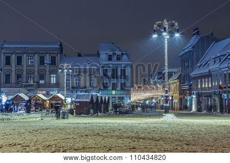 Christmas Winter Urban Nightfall Scene