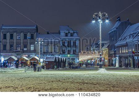 Christmas Winter Urban Nightfall Scene