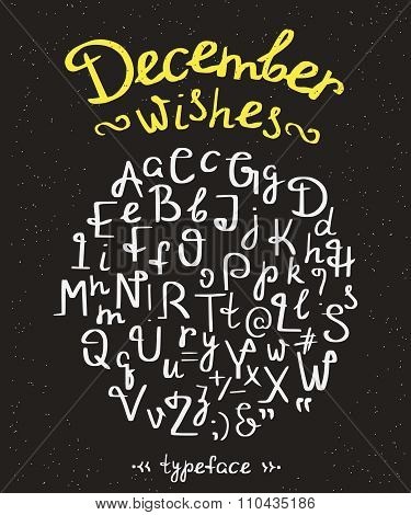 December wishes handwritten font with swirls