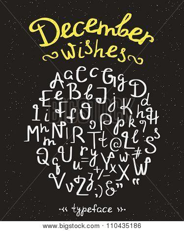 December wishes handwritten font with swirls