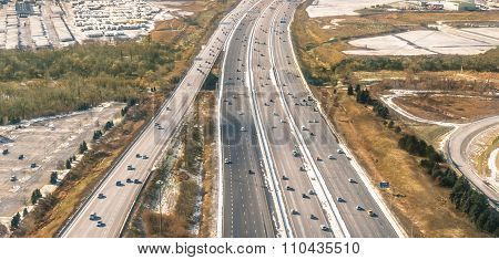 Multiple Lane Highway - Freeway Aerial View