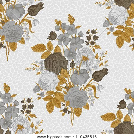 Seamless vector vintage pattern with Victorian bouquet of gray flowers on a white background.