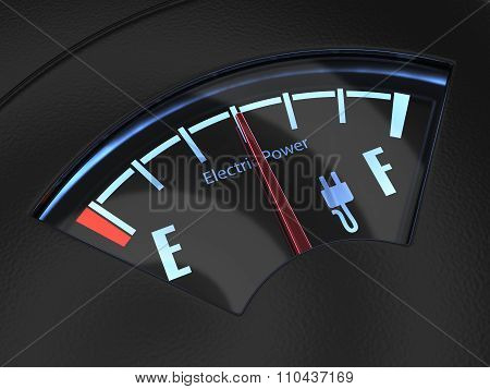 Electric Fuel Gauge With The Needle Indicating A Middle Battery Charge