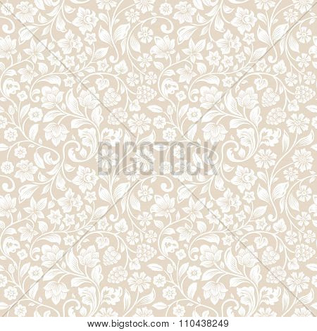 Vector seamless vintage floral pattern.