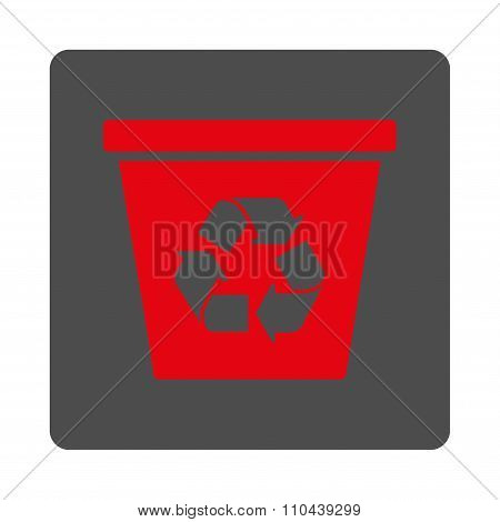 Dustbin Rounded Square Button