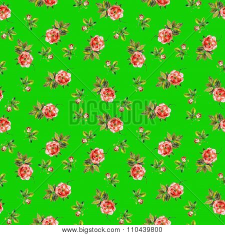 Bright seamless pattern with small roses in colorful green background