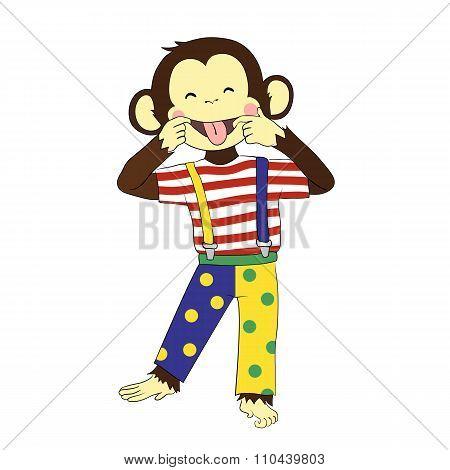 Fool's day. Monkey clown.
