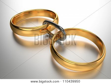 Wedding Gold Rings Connected Chain